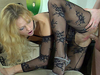 Gorgeous golden-haired reveals her sexy patterned bodystocking for fetish foreplay