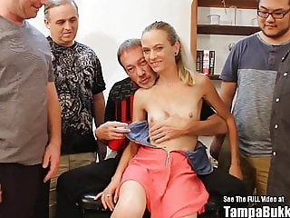 Skinny Slut Sperm Flying Bukkake Gangbang