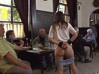 Euro Submissive Inhales Big Rod In A Pub