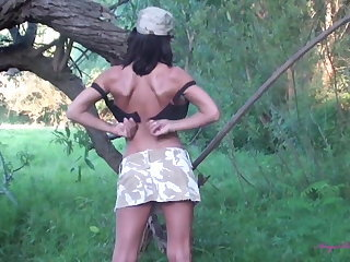 EU Soldier Girl with Wonder Tits Takes a Wank in the Woods
